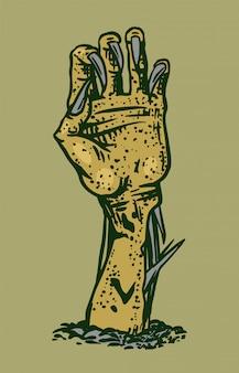 Hand der toten. halloween kriechendes zombie-konzept. gezeichnete gravierte gekritzelskizze. mystisch