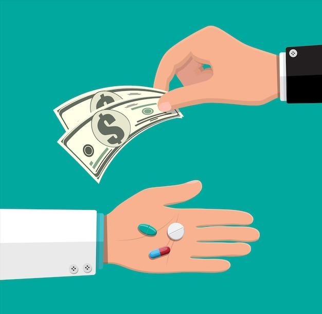 Hand des apothekers mit pillen, gesundheitswesen und einkaufen, apotheke, drogerie. hand mit geld. lieferung. medikament, vitamin, antibiotikum. vektorillustration im flachen stil