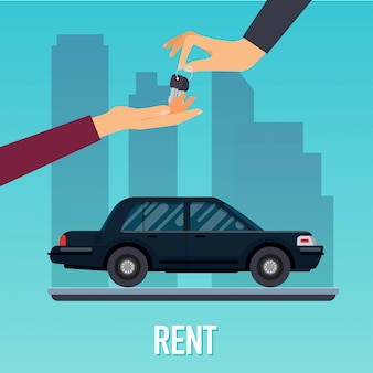 Hand des autoverkäufers, der dem käufer den schlüssel gibt. verkauf, leasing oder vermietung von autoservice. modernes illustrationskonzept.