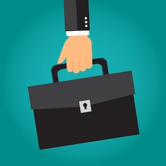 Hand des geschäftsmannes, die aktenkoffer oder portfolio hält