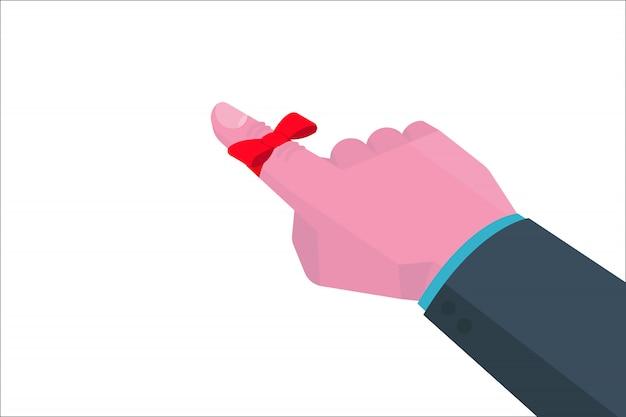 Hand des geschäftsmannes mit erinnerungsschnur auf isometrischem fingerkonsept. illustration.