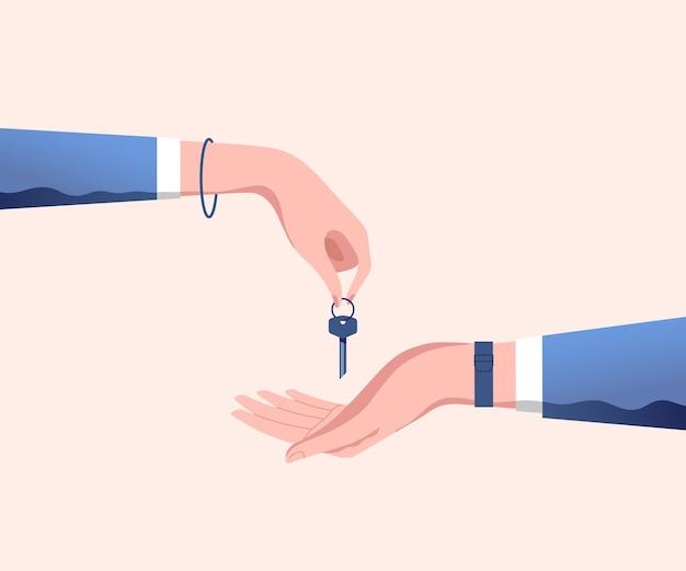 Hand des immobilienmaklers gibt haustürschlüssel zur hand des kunden. haus kaufen, mieten oder leasen.