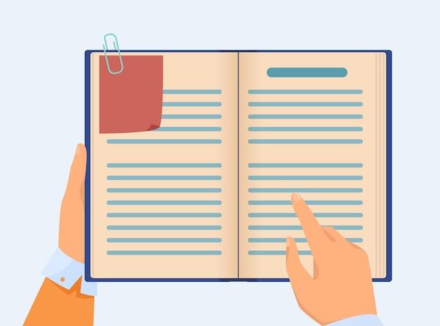 Hand des managers, der notizen im notizbuch prüft. business professional mit planungsaufgaben für buchplaner