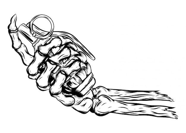 Hand des menschlichen skeletts, die granate der illustration hält