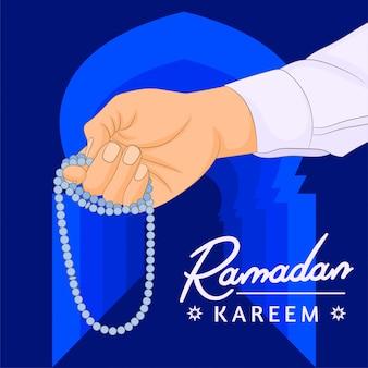 Hand des muslimischen mannes mit gebetsperlen