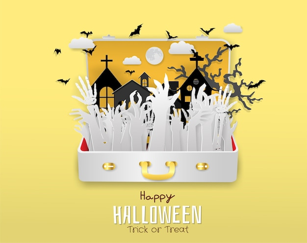 Hand des zombies, skelett in der reisetasche, halloween, süßes sonst gibt's saures