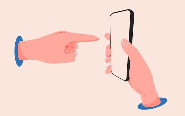 Hand, die auf einen smartphone-finger zeigt, der auf eine bearbeitbare, flache telefonvorlage für den touchscreen zeigt