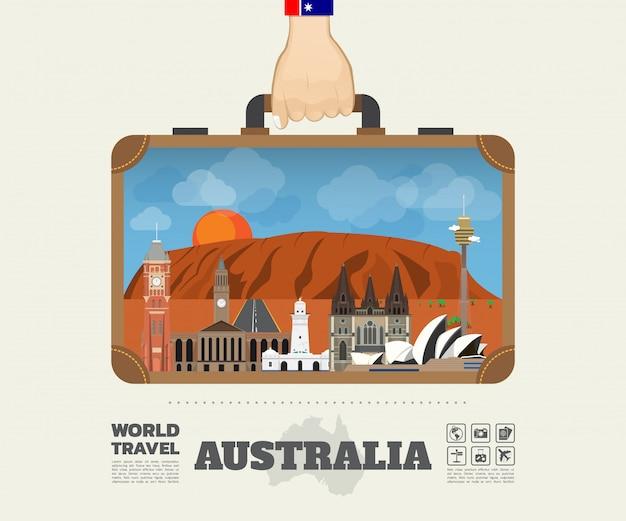 Hand, die australien-markstein-globale reise und reise infographic-tasche trägt.