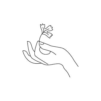 Hand, die blätter hält. linienstil. isoliert auf weißem hintergrund.