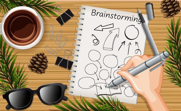 Hand, die brainstormingflugzeug nah oben auf schreibtischhintergrund mit pfannkuchen und einigen blattstützen schreibt