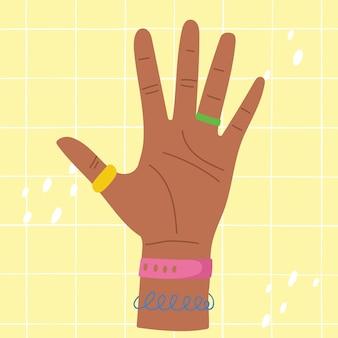 Hand, die bunte illustration mit fünf fingern zeigt hand zählt fünf