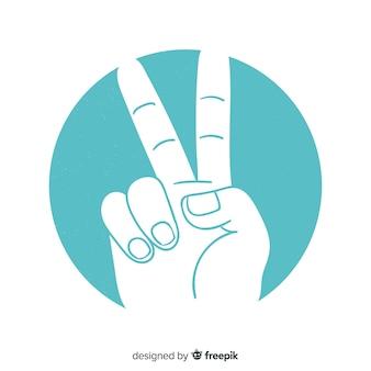 Hand, die das friedenszeichen mit hand gezeichneter art tut