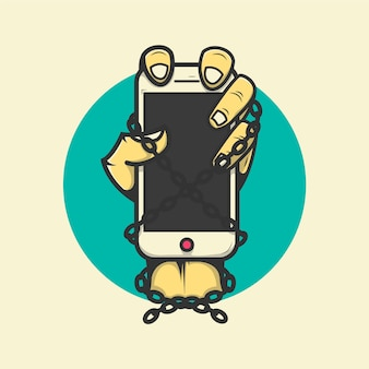 Hand, die das handy angekettete illustration premium vector hält