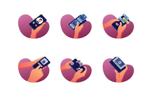 Hand, die das telefon für verschiedene aktivitäten hält, videos ansehen, spielen, chatten, anrufen,