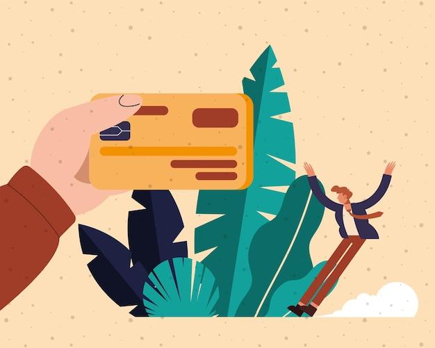 Hand, die debitkarte und mannkarikatur des geldfinanzgeschäftsbankgeschäfts und der marktthemaillustration hält