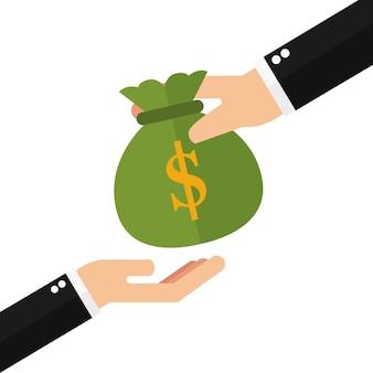 Hand, die der anderen hand geld gibt