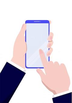 Hand, die ein smartphone hält. mobiltelefon in der hand