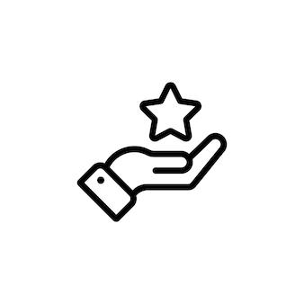 Hand, die ein sternsymbol in schwarz hält. bewertungsstern. vektor auf weißem hintergrund isoliert. eps 10.