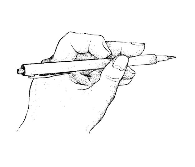 Hand, die ein stift-schreiben auf papier hält