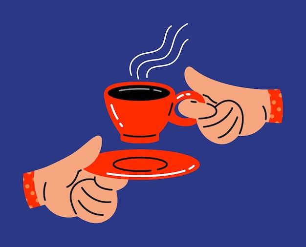 Hand, die eine flache vektorillustration einer tasse kaffee hält