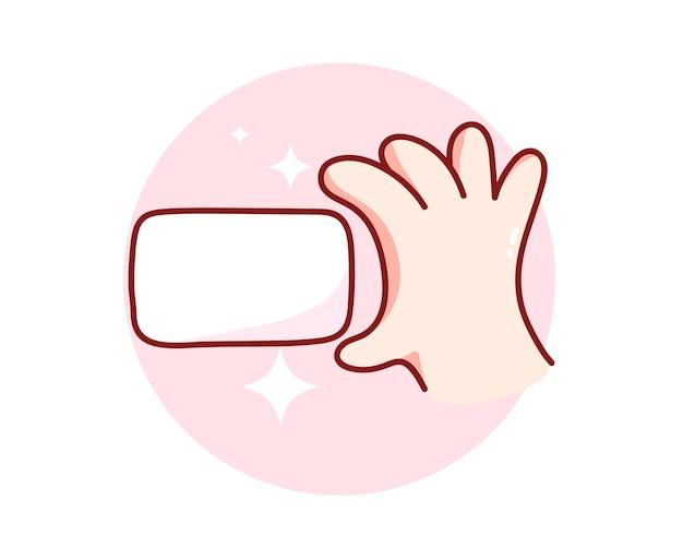 Hand, die eine gezeichnete karikaturkunstillustration des weißbuches hand hält