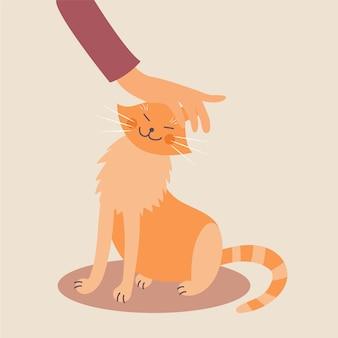 Hand, die eine katze streichelt
