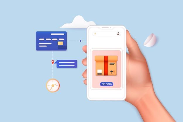 Hand, die eine mobile smartphone-app hält, wobei die strecke mit der route angezeigt wird. vektor-fitness-route-tracking-konzept illustration. 3d-vektor-illustrationen.
