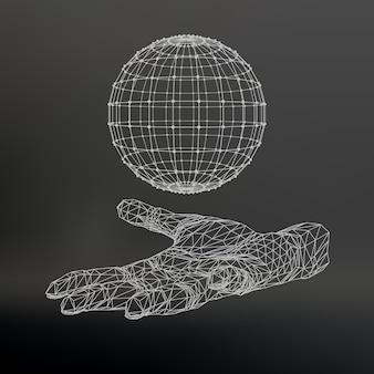 Hand, die eine polygonkugel hält. polygonball am arm.