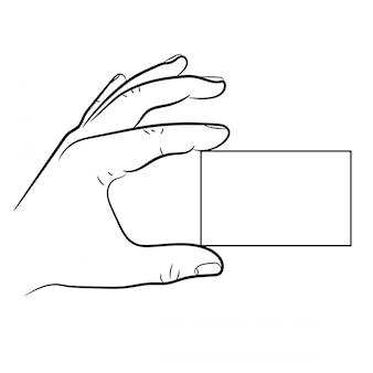 Hand, die eine visitenkarte von vektorillustrationen hält