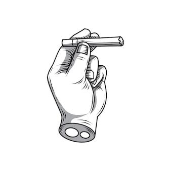 Hand, die eine zigarettenhandzeichnung hält