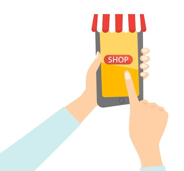 Hand, die einen smartphone mit beweglicher einkaufs-app hält