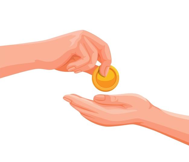 Hand, die einer anderen person geldmünze gibt, und hilft symbolillustration im karikaturvektor