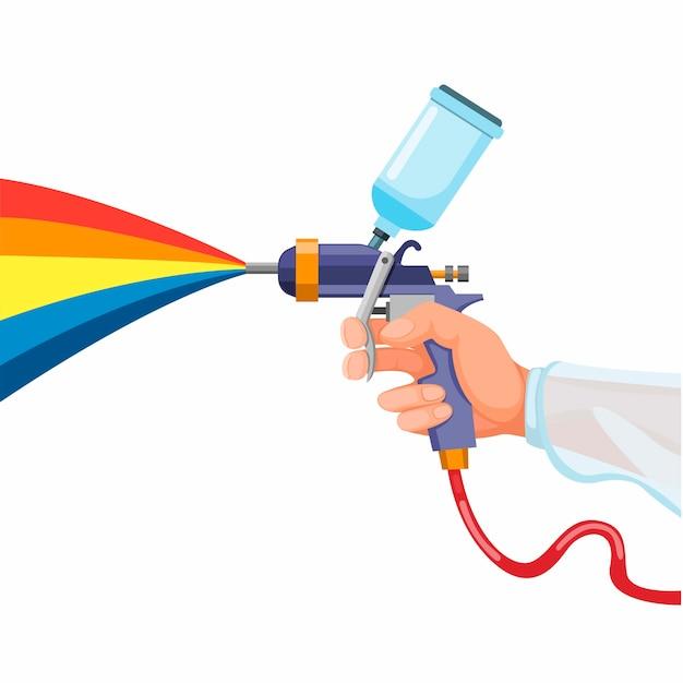 Hand, die farbspritzpistole, airbrush gun art tool symbol hält. konzept in der karikaturillustration