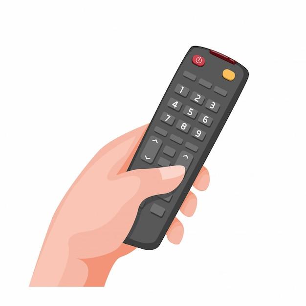 Hand, die ferngesteuertes fernsehsymbol in der karikaturillustration lokalisiert im weißen hintergrund hält