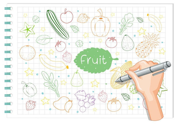 Hand, die fruchtelementkritzelei auf papier zeichnet