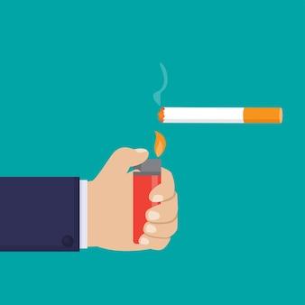 Hand, die gasfeuerzeug hält und eine flache designillustration der zigarette anzündet