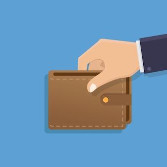 Hand, die geldbörsenillustration hält