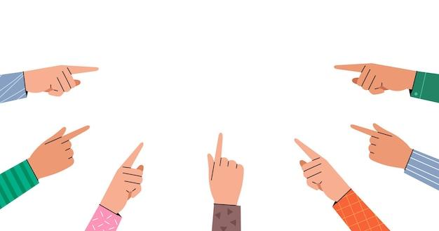 Hand, die geste zeigt. erhobene hände mit einem zeigefinger. mehrere zeigehände.