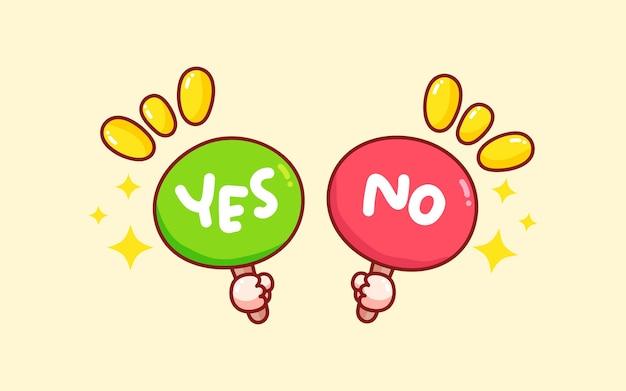 Hand, die gezeichnete karikaturkunstillustration des ja- oder nein-zeichens hält