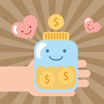 Hand, die glas kawaii münzengeldgeld hält, spenden nächstenliebe