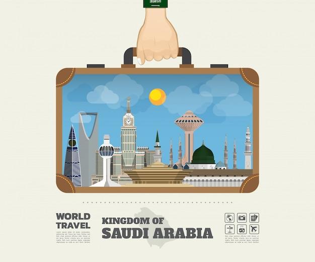 Hand, die globale reise saudi-arabiens markstein und reise infographic-tasche trägt.