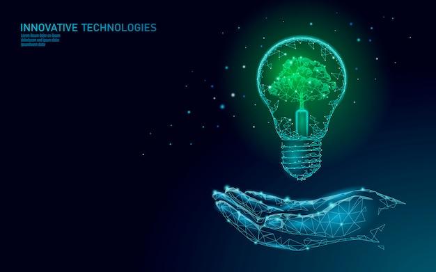 Hand, die glühbirnenlampe hält, die energieökologiekonzept spart. polygonaler hellblauer keimling kleiner pflanzensämling innerhalb der elektrischen energieenergieillustration der elektrizität