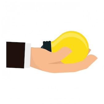 Hand, die glühlampenbild hält