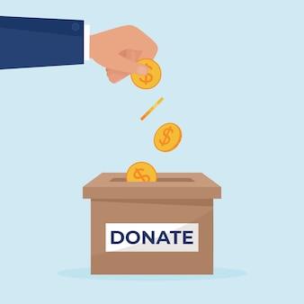 Hand, die goldene münze in die spendenbox legt. konzept spenden. wohltätigkeitsanteil. illustration im flachen stil