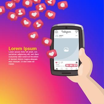 Hand, die handy mit instagram-mitteilungen hält