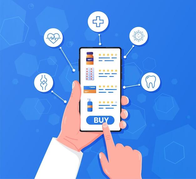 Hand, die handy mit internetapotheke-shopping-app hält