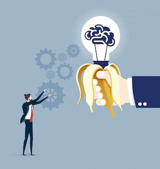 Hand, die idee geschäftskonzeptvektor gibt