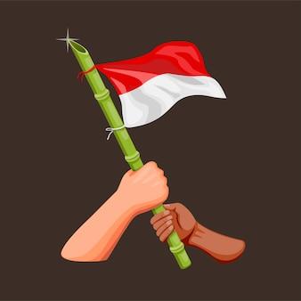 Hand, die indonesisch mit geschärftem bambus im pol für das feiern des unabhängigkeitstags im konzept des 17. august 1945 im karikaturillustrationsvektor hält