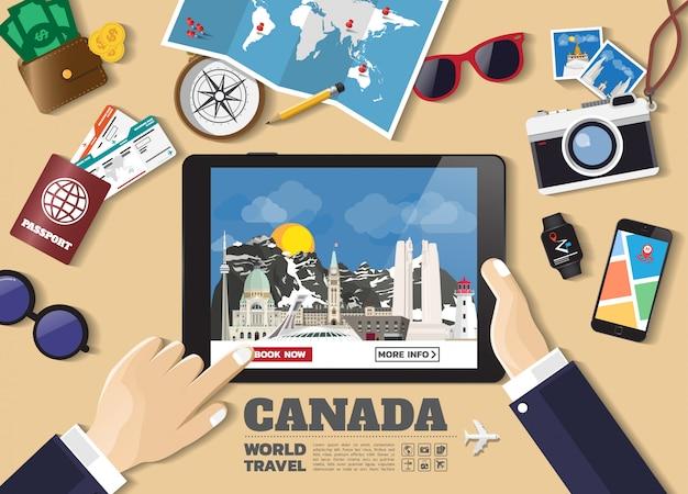 Hand, die intelligentes tablettenbuchungsreiseziel hält berühmte orte kanadas.