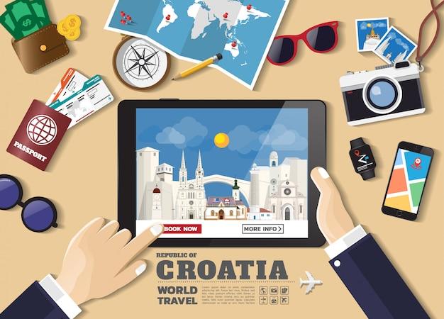 Hand, die intelligentes tablettenbuchungsreiseziel hält berühmte plätze kroatiens